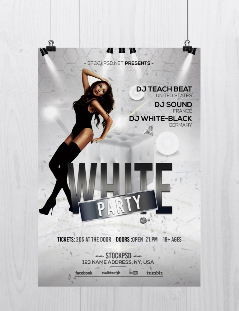 Pixelsdesign White Party Free Elegant Psd Photoshop Flyer