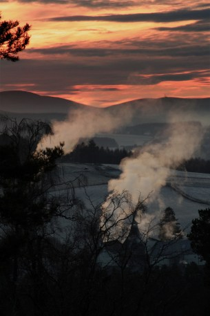 Sunset over Craigellachie Distillery, Moray