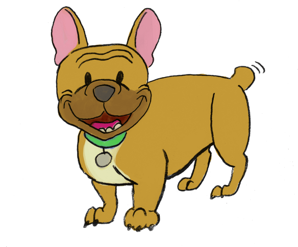 Cartoon of a fawn-colored French Bulldog