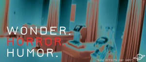 Empty hospital beds are shown with warped colors, blue and red. Superimposed are the words WONDER. HORROR. HUMOR. Horror is in red.