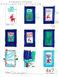 Book Cover design thumbnails for MIDWINTER MAGIC, in marker