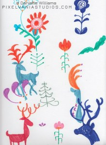 Folk Art Reindeer attempts with flowers