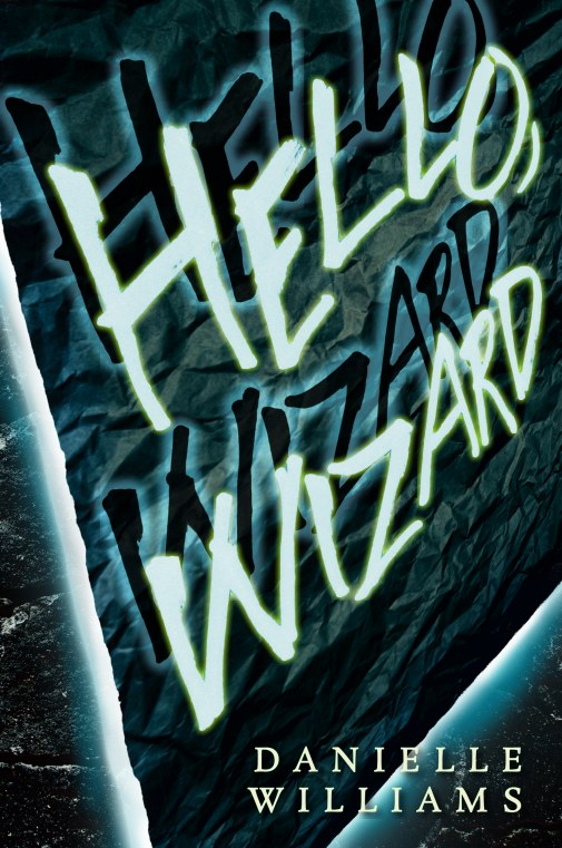 Cover for HELLO, WIZARD. Eerie glowing text pops off a wrinkled piece of paper against a stone background.