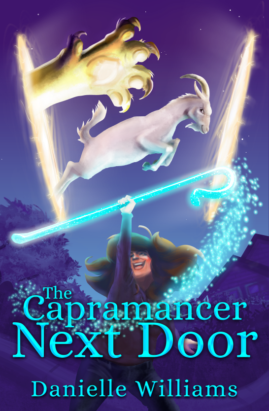 Cover for THE CAPRAMANCER NEXT DOOR: A laughing woman wields a glowing shepherd's crook while a goat leaps through a portal overhead