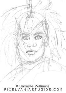 Elegant sketch of the Queen