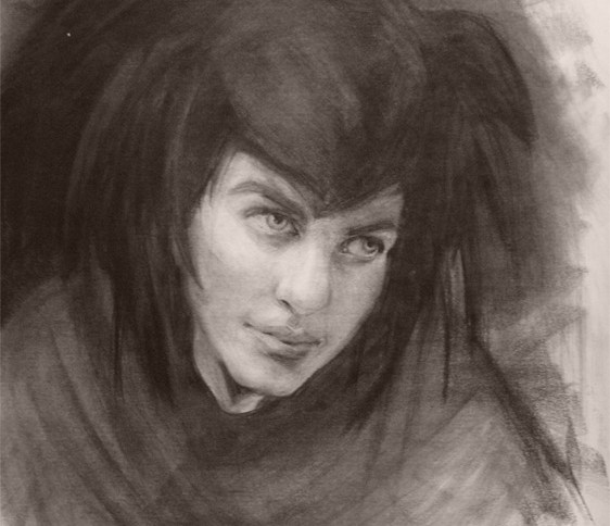Charcoal portrait of the Queen from STEEL CTIY, VEILED KINGDOM