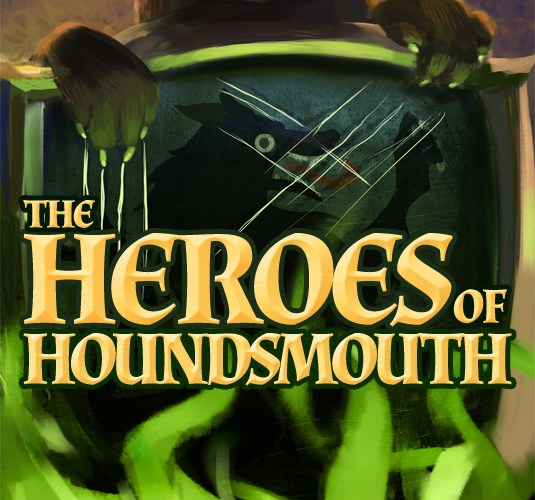 Heroes of Houndsmouth Cover: Evil Ferret scratching a Wolf clan shield