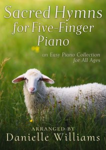 Cover for SACRED HYMNS FOR FIVE-FINGER PIANO, a lamb in a green field