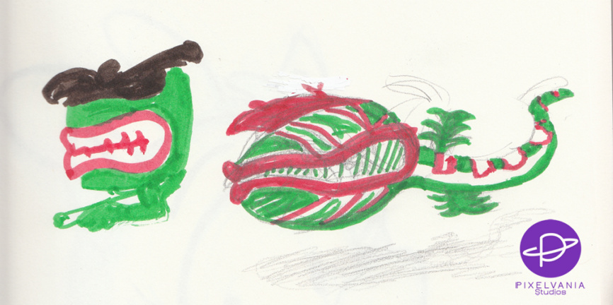 A crazy green and red snake with a Venus flytrap's head, colored in Crayola marker