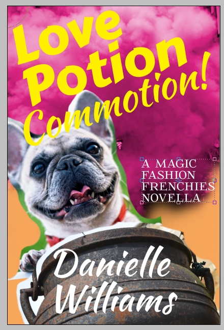 Cover mockup for Fashion Frenchies 1, featuring purple smoke, a bulldog, and a cauldron
