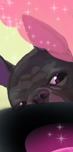 The nose and eyes of an illustrated French Bulldog peeking over a cauldron bubbling with something pink
