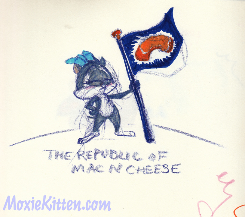 Cartoon cat with a blue bow proudly holding up a flag with a cheesy noodle on it