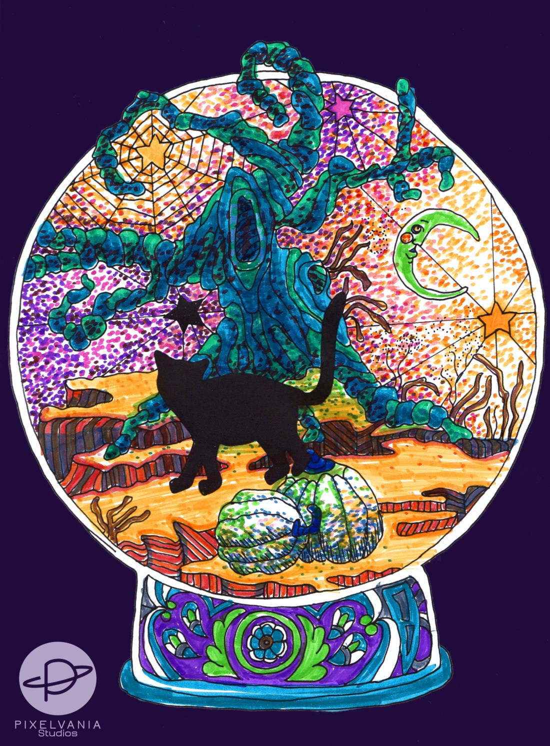 Coloring Book Page of a cat in front of a gnarled green tree and a colorful stippled sky.