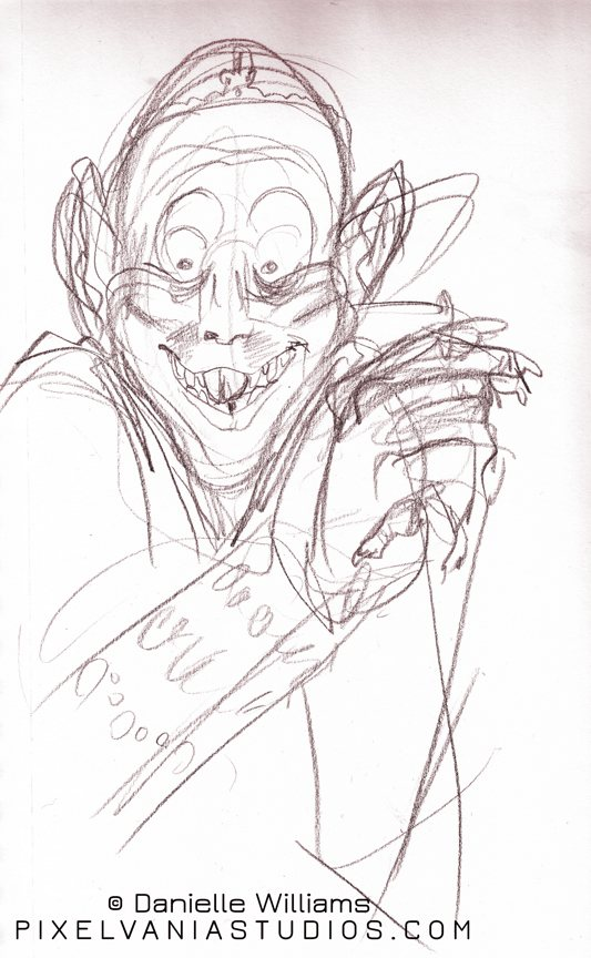 A gleeful nosferatu smiling and clasping his hands