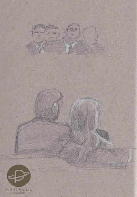 Church sketches - bishopric and stake folks and a couple in the pews
