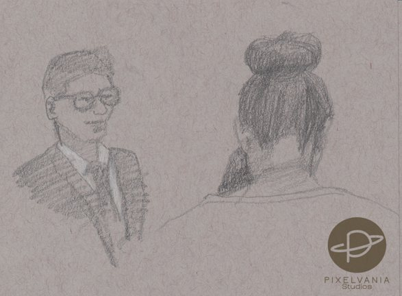 Life drawings from church - guy with glasses and be-bunned back of girl's head