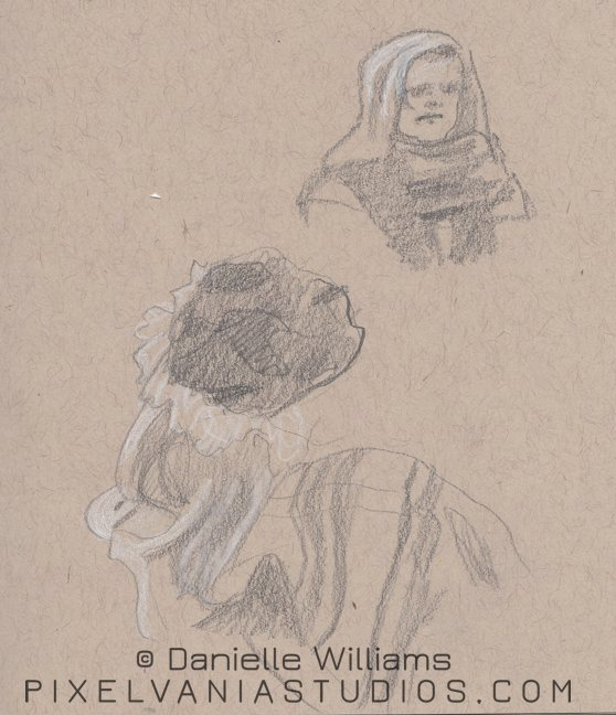 Church life drawings - gal in scarf and some fabric folds