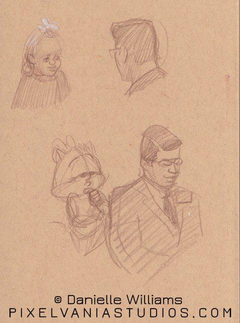 Sketches of a different missionary speaking, plus a little girl with a flower in her hair