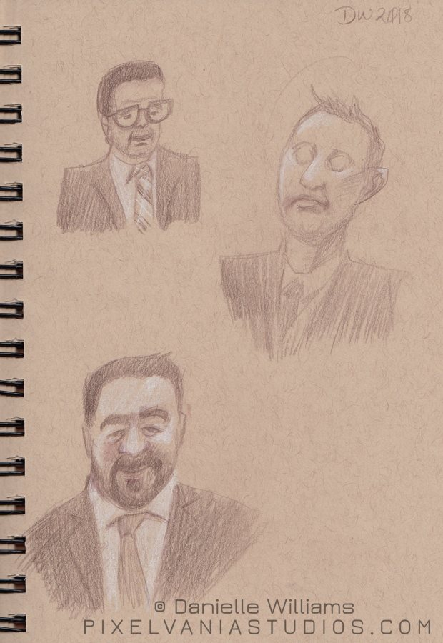 Church life drawings - three men in suits