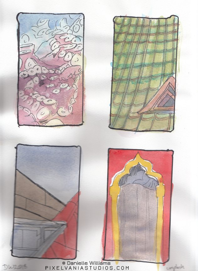 Four background studies: tentacles, a green-tiled roof, a modernist roofline, and a fancy archway window