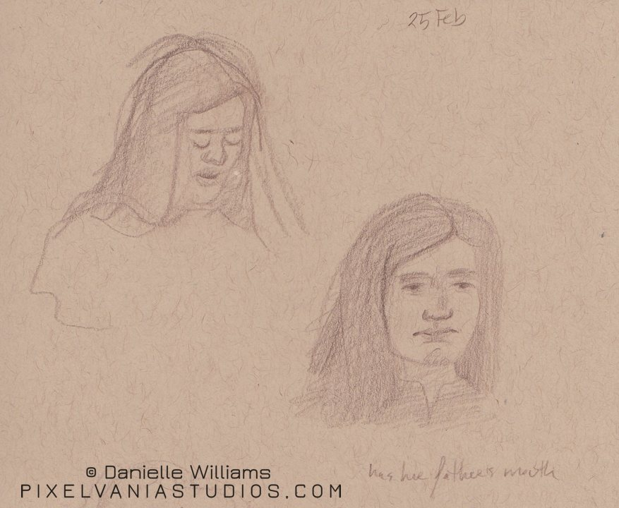 Pencil sketch on toned paper - young lady with brown hair