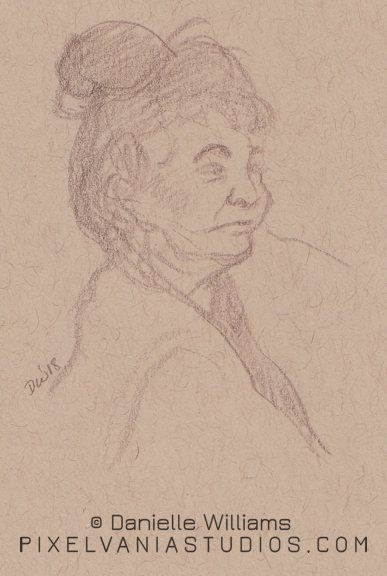 An older Hawai'ian lady in pencil on toned paper
