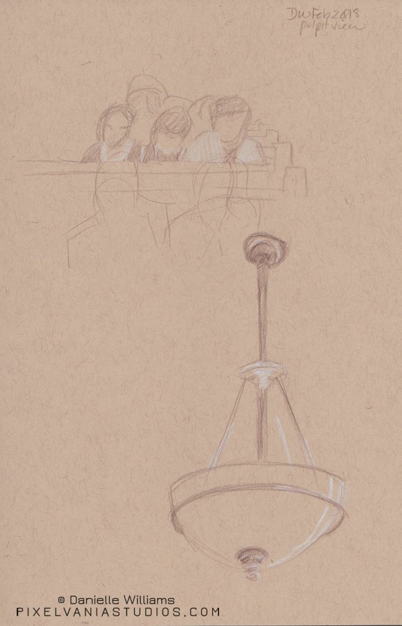 Life drawing of peeps in the pews and a hanging lamp