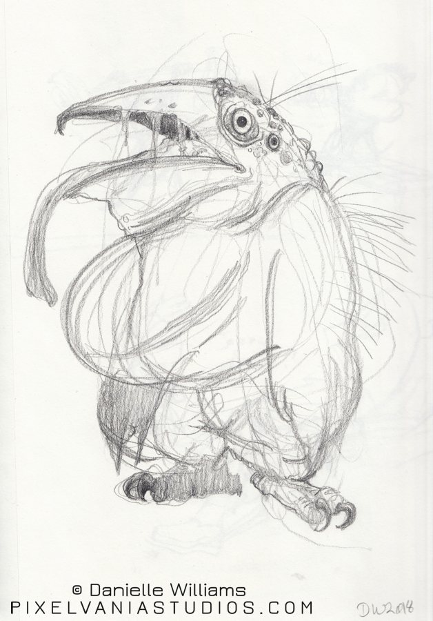 Weird monster penguin with owl feet