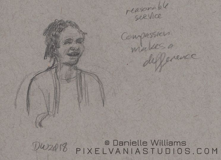 Toned paper sketch of a black woman smiling with some sermon notes around her