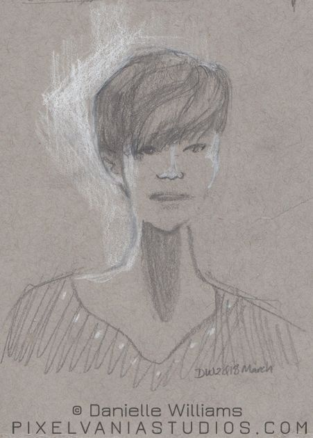 portrait fo a woman on toned paper. She has a very long neck