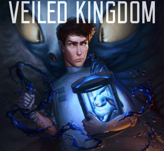 Cover to STEEL CITY, VEILED KINGDOM A man holds a lab beaker in one hand, a rabbit in a strange machine, and is being grabbed by a large monster