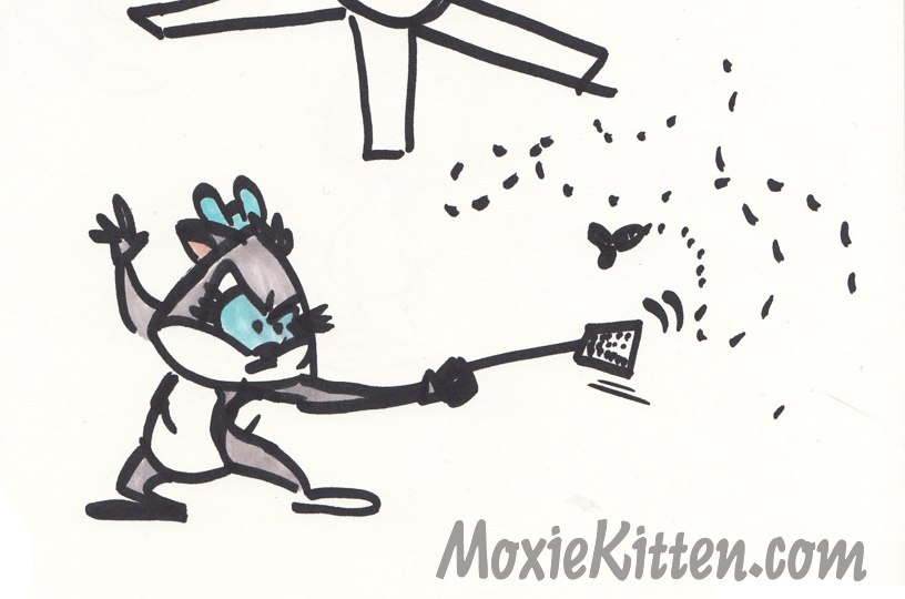 Cartoon cat lunges at a fly with a flyswatter. En garde!
