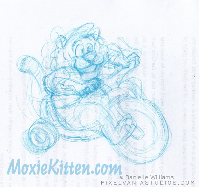 A chubby cute tiger on a Big Wheel tricycle grinning away