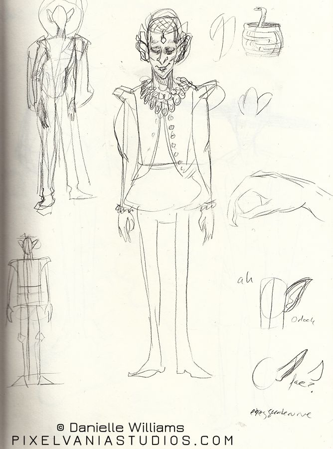 Nosferatu in Elizabethan-style gear, sketched in pencil