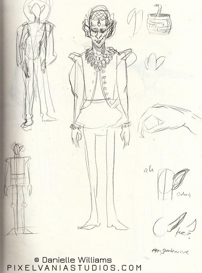 Nosferatu in Elizabethan-style gear, sketched in pencil