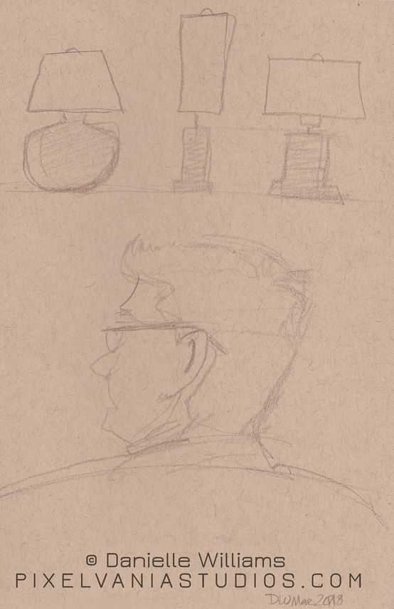 Tone paper drawing of a man's profile, and some simple lamps in pencil