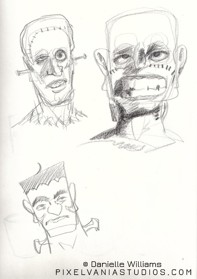 Pencil sketches of various Frankenstein's monsters