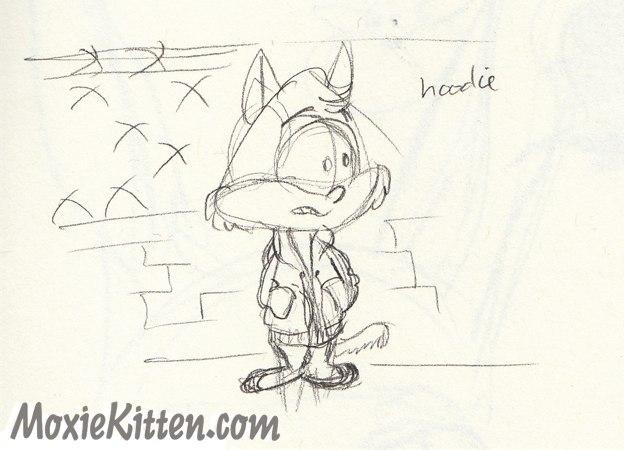 Kitten wearing a hoodie