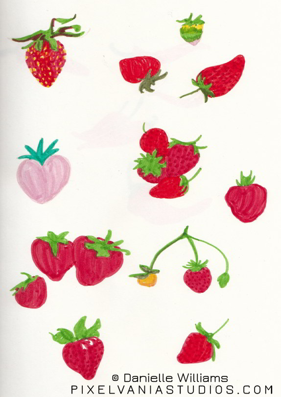 Strawberries in marker
