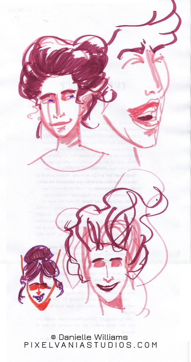 Laughing faerie with violet-red updo in marker