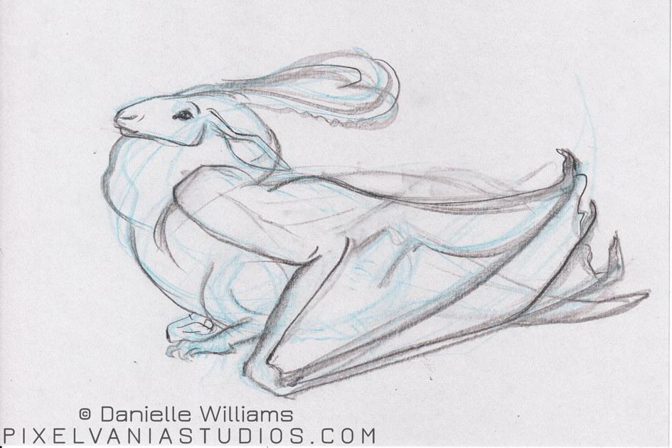 Gazelle-faced dragon in blue pencil