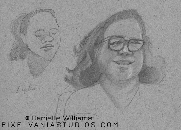 Portrait of a woman with glasses on toned paper