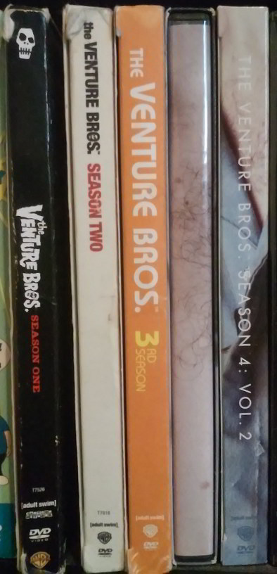 Spines of THE VENTURE BROS. DVD boxed sets