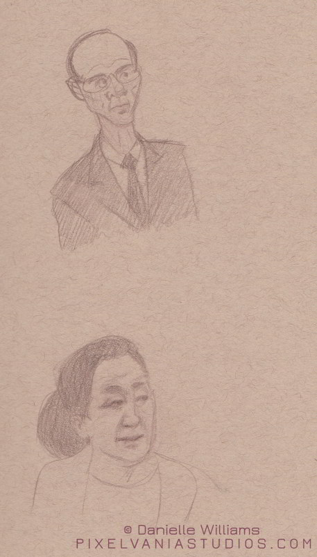 Life drawings of a husband and wife I saw at church