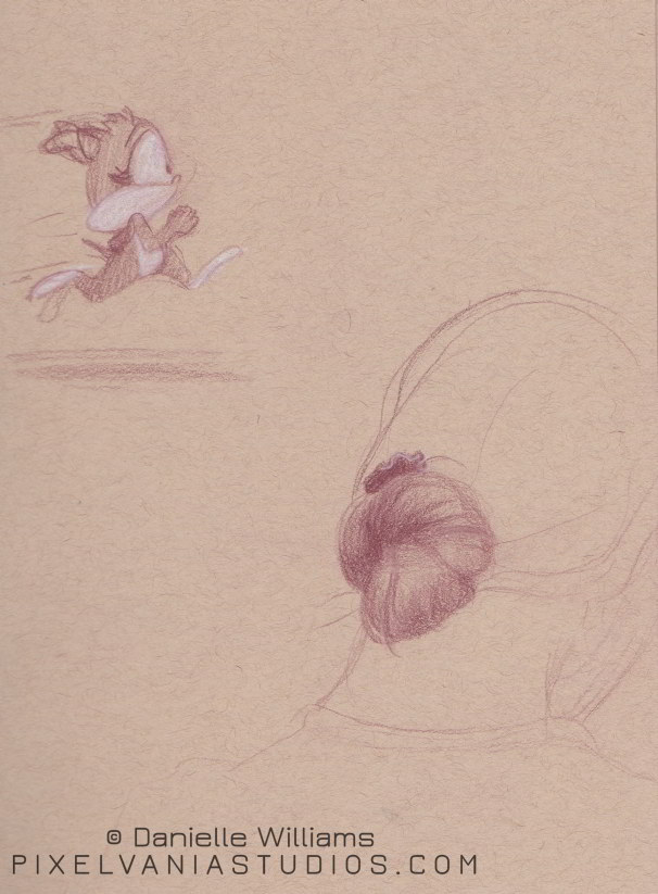 Toned paper drawing of a grey cat running, and a shaded chignon