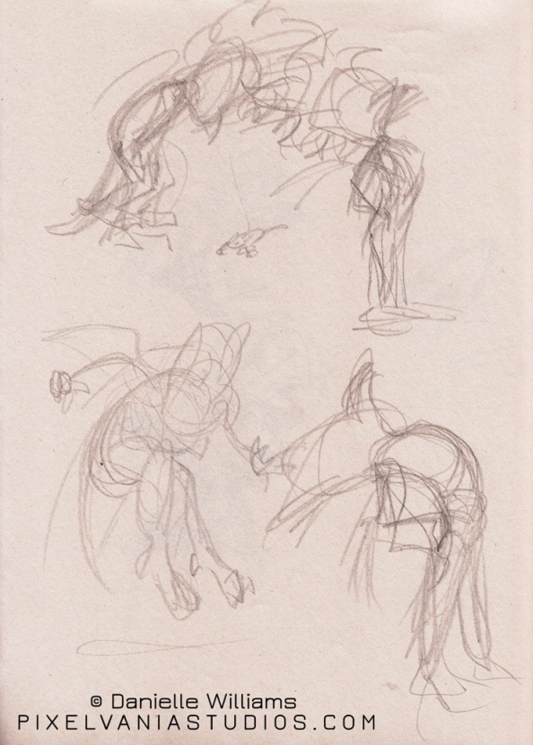 Sketches of a squargling, a sort of parroty-rabbit person. Includes hops and backbends