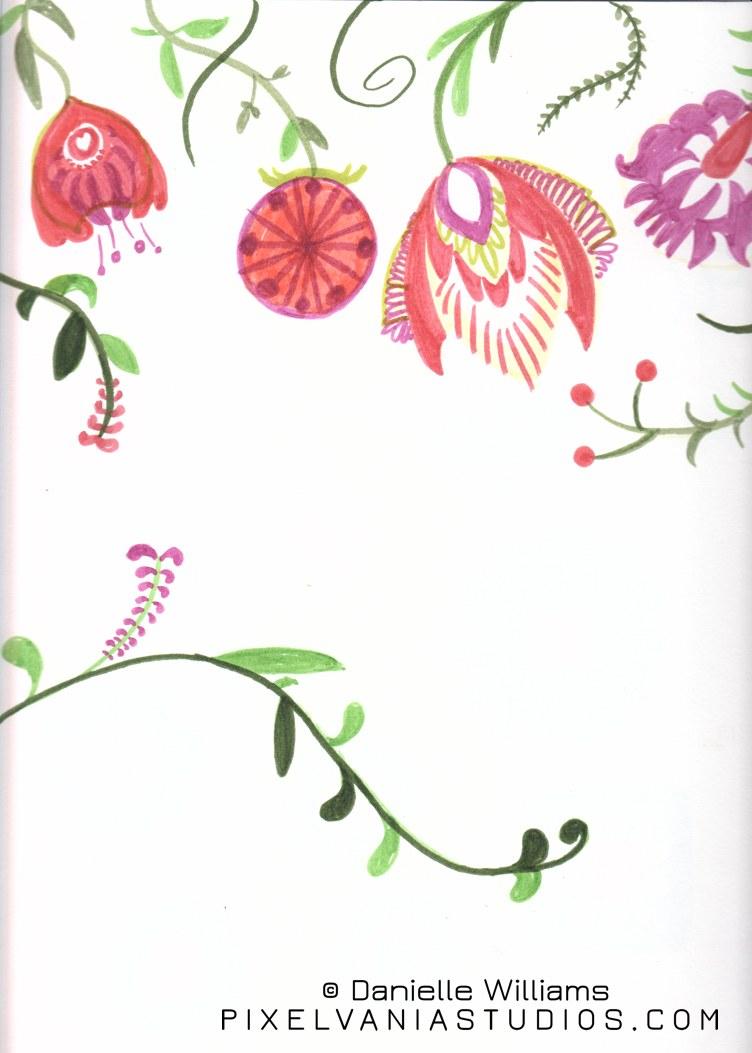 Folk art flowers in marker 1