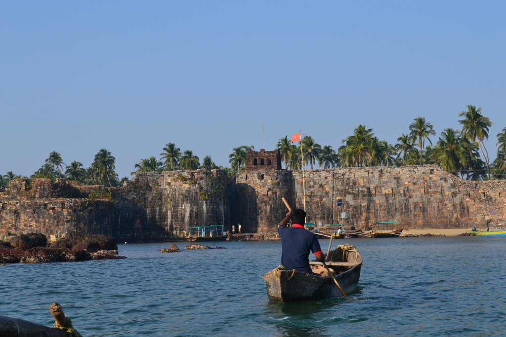 Boatman in boat near Sindhudurg Fort in Maharashtra