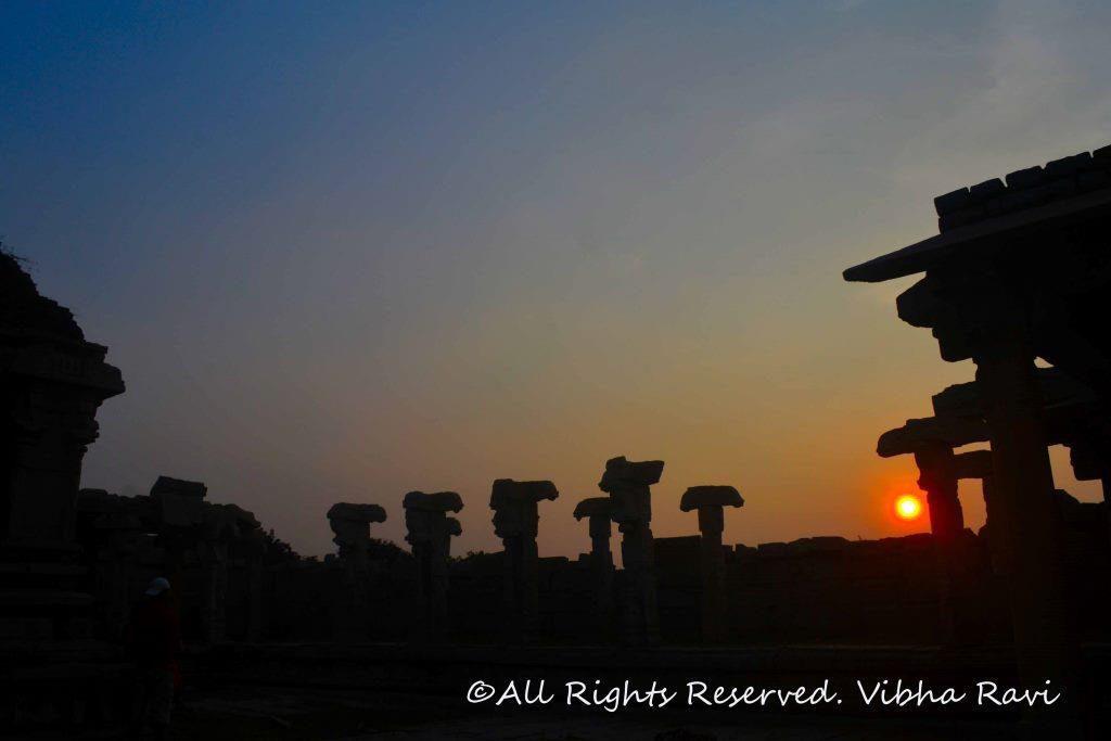 Sun set at Vitthala temple Hampi
