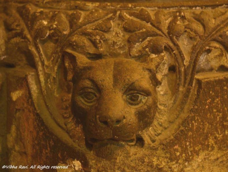 A lion carved on a pillar at the Chhatrapati Shivaji/Victoria Terminus - seems to be asking 'What are you staring at, huh?'